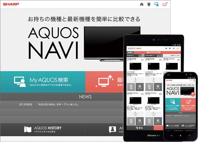 製品情報比較サイト「AQUOS NAVI」制作